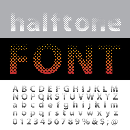 vector dotted halftone alphabet, editable letters