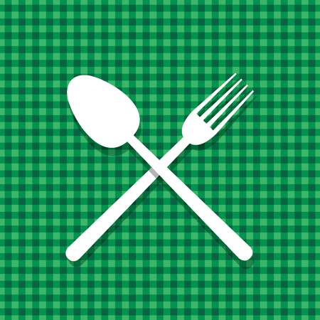 Spoon and fork on green tablecloth, vector menu restaurant template Illustration