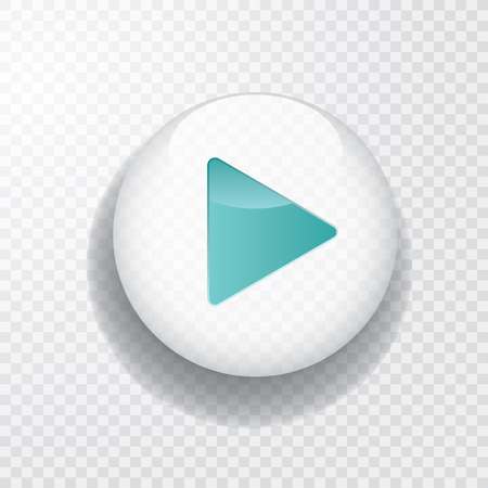 White transparent play button with turquoise arrow and shadow, vector icon Stock Illustratie
