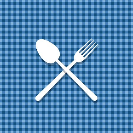 spoon and fork on blue tablecloth, vector menu restaurant template