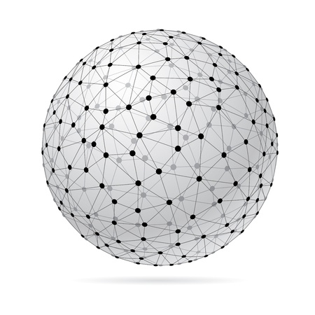 abstract transparent wireframe triangulated sphere, low poly connection symbol, vector illustration