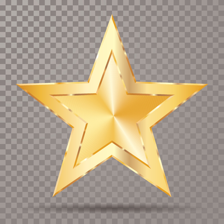 Golden star with transparent shadow, vector template for show business or something else. Illustration