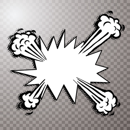 explosion doodle comic illustration with halftone dotted shadow, vector background Vettoriali
