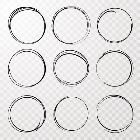 A collection of nine isolated vector hand drawn circles Vectores