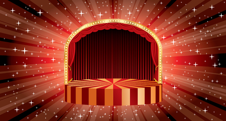 Circle circus stage vector with bulb lamps and star burst in background, entertainment and show business template.