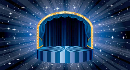A vector blue circle circus stage with bulb lamps and star burst in background, entertainment and show business template