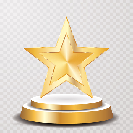 Golden star on golden podium, vector template for show business or champions success.