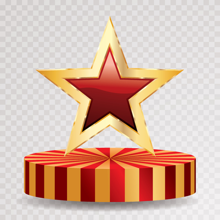 red star with golden frame on circus podium, vector template for show business or champions sucess