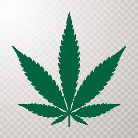 Cannabis leaf illustration, green icon on transparent background