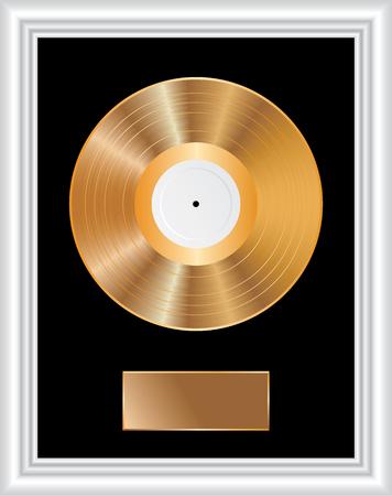 Blank golden LP in white frame
