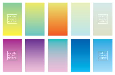 Conjunto de fondos de color. diseño de la plantilla de la plantilla del vector para los teléfonos inteligentes móviles Foto de archivo - 96072258