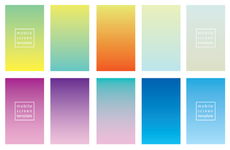 Set of color backgrounds. Screen vector template design for smart mobile phones