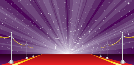 Vector illustration with red carpet and purple star burst, layered and editable