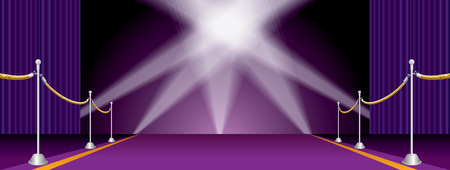 Vector illustration with purple carpet and curtain, layered and editable show business background