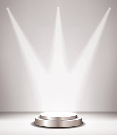 Empty vector silver pedestal in room interior with three spotlights. Template for product presentation with spotlight Vettoriali