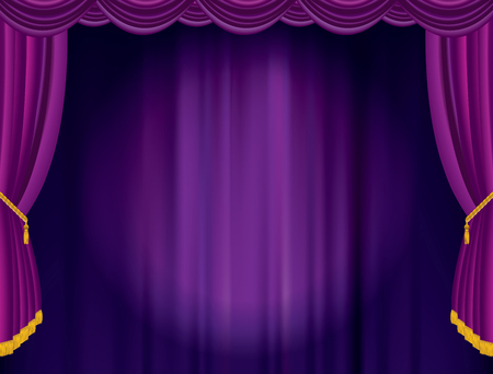 Empty stage with purple velvet curtain, vector background