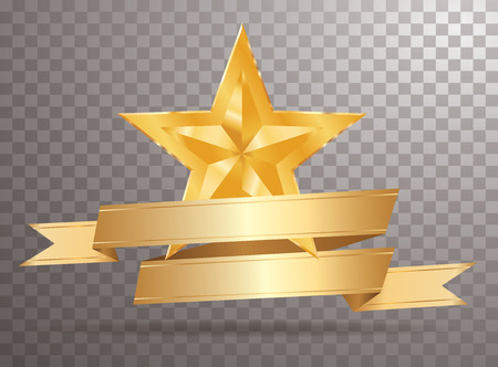 golden star with blank golden banner