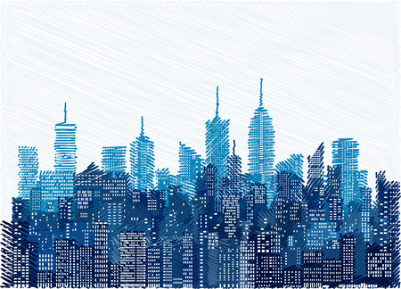 White windows on hand drawn city skylines, blue color cityscape background, editable and layered Illustration