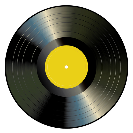 vector blank yellow label LP vinyl record, retro vintage music background
