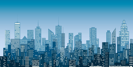 White windows abstract city skylines, blue color cityscape background, editable and layered.