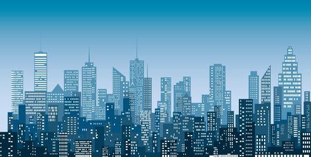 Le finestre bianche sottraggono gli skyline della città, il fondo blu di paesaggio urbano di colore, editabile e stratificato. Vettoriali