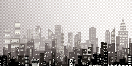 white windows abstract city skylines, gray color cityscape background, editable and layered