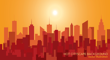 Abstract city skylines, color city-scape background in hot colors. Иллюстрация