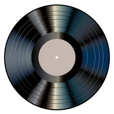 Vector realistic illustration of vinyl long play record with blank gray label.