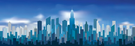 Abstract city skylines, blue color cityscape background with buildings and clouds, editable and layered vector illustration