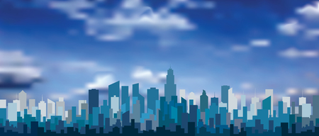 Abstract city skylines, blue color cityscape background with buildings and clouds, editable and layered vector illustration.