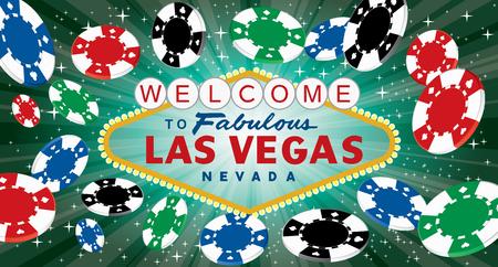 segno di Las Vegas con starburst verde e gettoni da gioco, illustrazione vettoriale