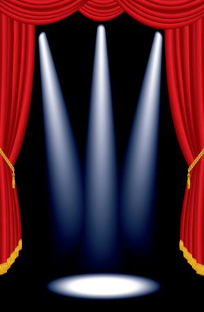 vector illustration of the empty red curtain stage with three spotlights