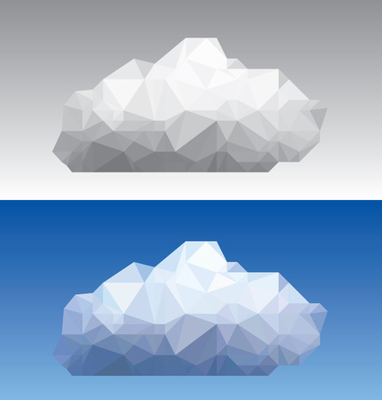 low poly paper cloud in color and grayscale version