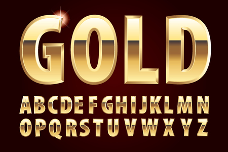 golden bullions shiny alphabet, vector illustration