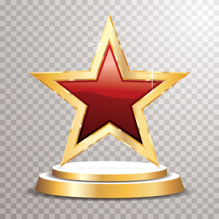 Red golden star on golden podium, vector template for cosmetics, show business, sports or something else