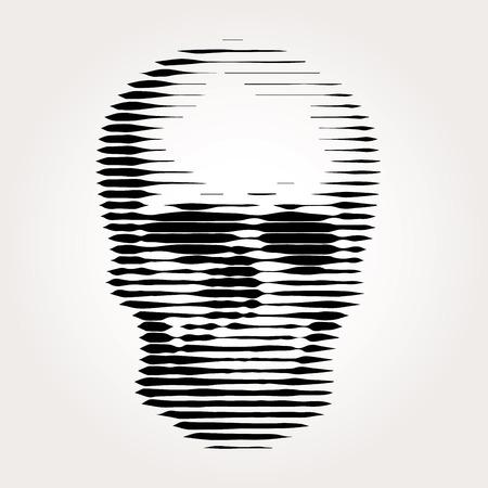 human skull vector illustration, linear halftone raster