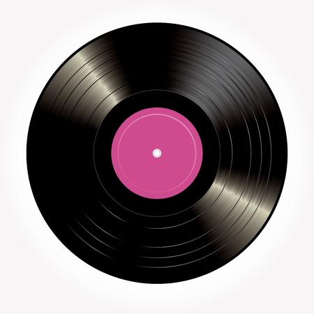 LP vinyle avec étiquette vierge rose, illustration de fond rétro vintage