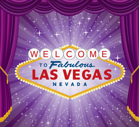 vector las vegas sign over the night star burst with purple stage curtain