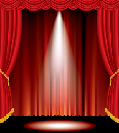vector one spot on red curtain stage