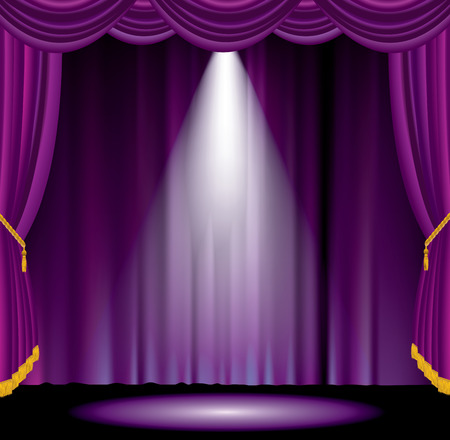 vector one spot on purple curtain stage