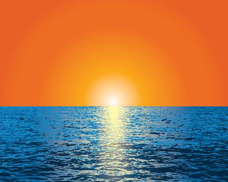Vektororangenhintergrund mit Sonnenuntergang über dem blauen Ozean