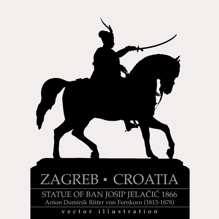 Statue of Ban Jelacic in Zagreb, Croatia, vector editable illustration
