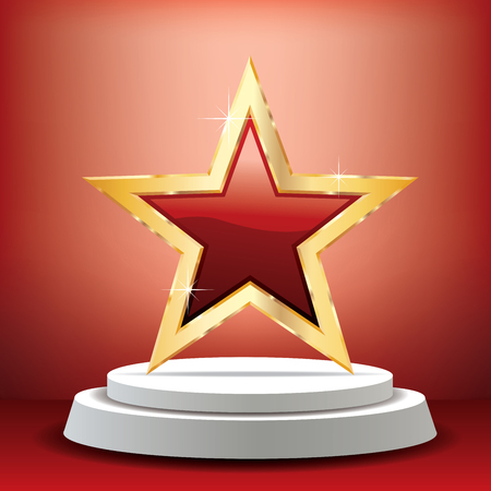 red golden star on white podium in red studio, vector background template for cosmetics, show business, sports or something else Ilustração