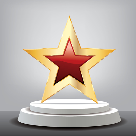 red golden star on white podium in gray studio, vector background template for cosmetics, show business, sports or something else
