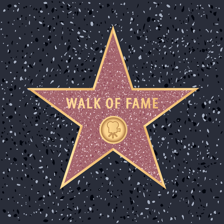 star on Holywood walk of fame with editable sample text Çizim