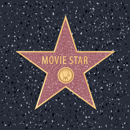 star on Holywood walk of fame with editable sample text Stock Illustratie