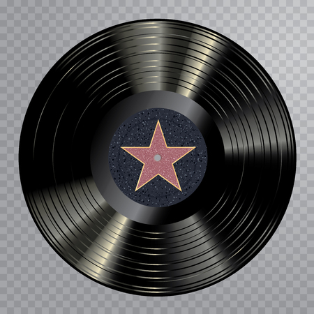 vector realistic illustration of vinyl long play record, label with star from Hollywood walk of fame