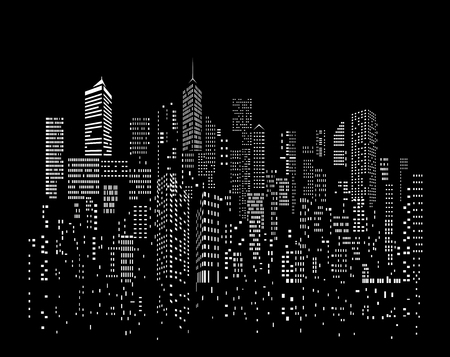 Modern City skyline, city silhouette, vector illustration in flat design