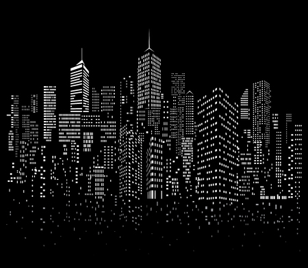 Modern City skyline, city windows silhouette with reflection, vector illustration