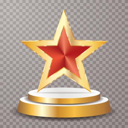 red golden star on golden podium, vector background template for cosmetics, show business, sports or something else Ilustração